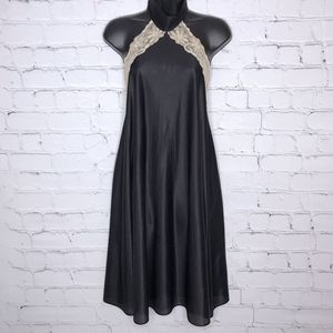 Vintage Black Choker Nightie Backless Sleeveless